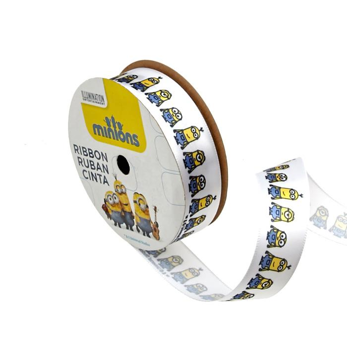 7/8'' Minions Ribbon 2D White
