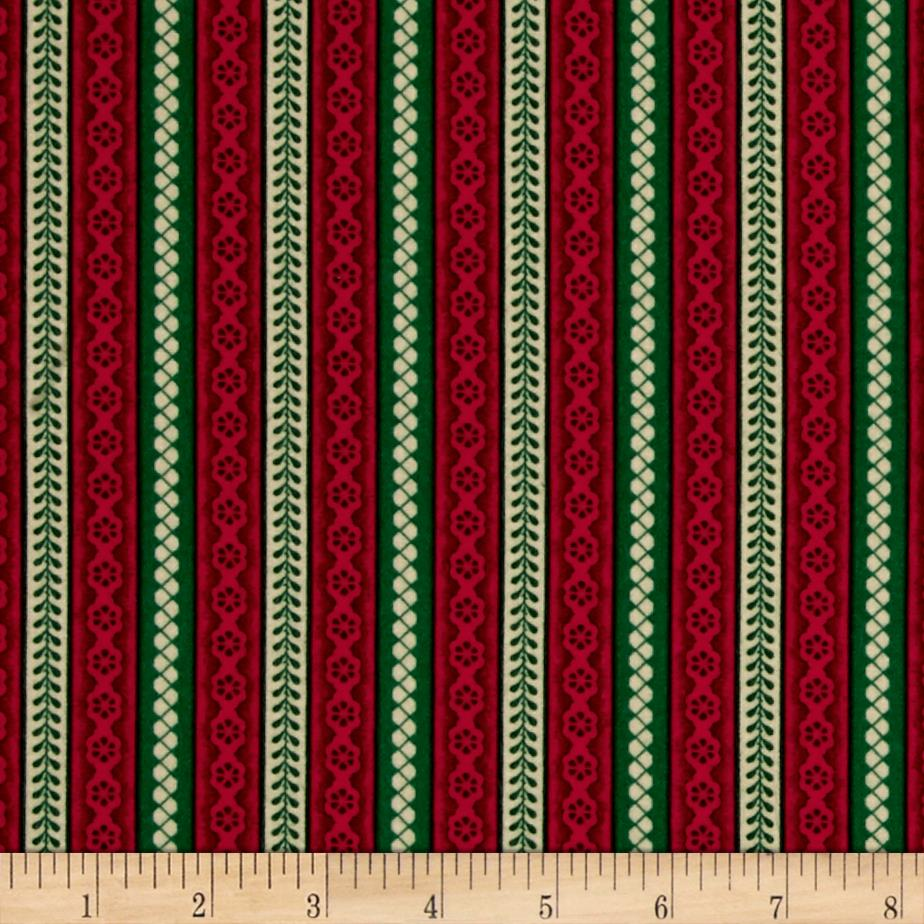 Cozies Flannel Christmas Stripe Red Fabric By The Yard