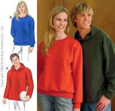 Kwik Sew Learn To Sew Unisex Sweat Shirts & Hoodie Pattern