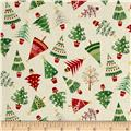 Traditional Metallic Christmas Trees Cream