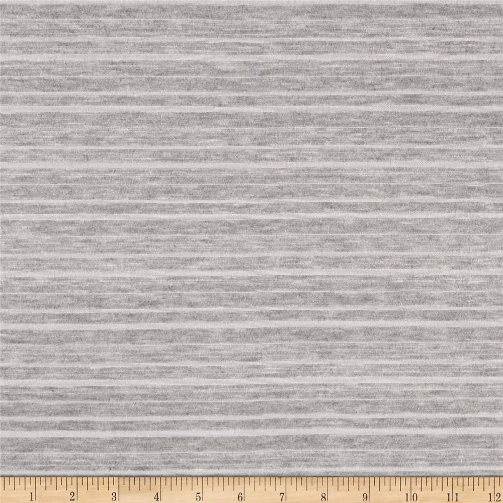 Jersey Knit Mini Gray Stripe on Sheer Ivory  Fabric