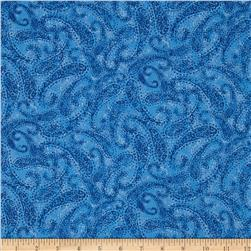 Winter Blues Paisley Swirls Dark Blue