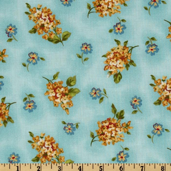 Martine Floral  Bunches Aqua