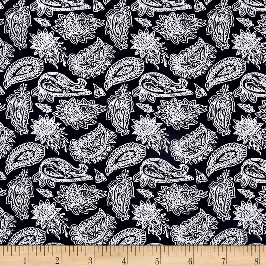 Telio Hampton Court Cotton Shirting Paisley Navy