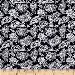 Telio Hampton Court Cotton Poplin Paisley Navy