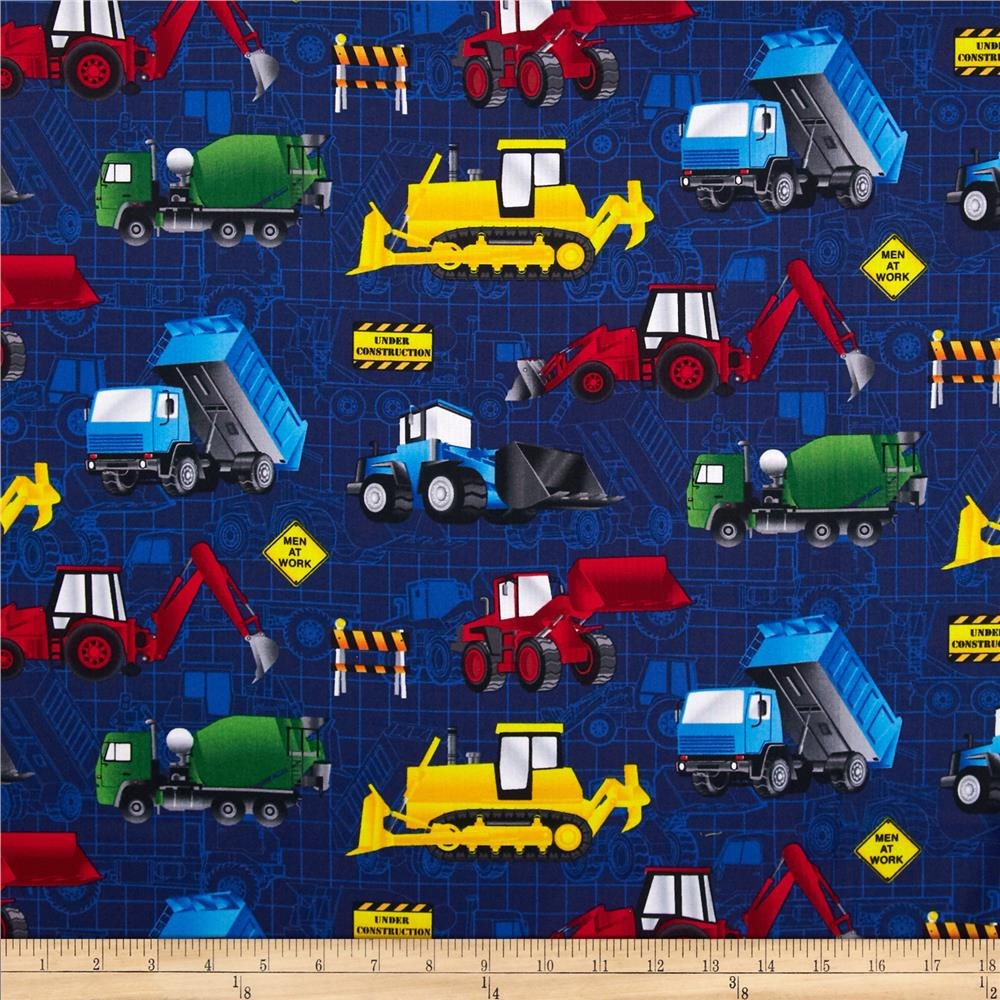 Timeless Treasures Construction Vehicles Navy