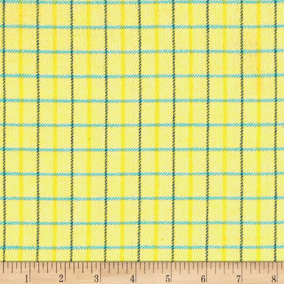 Marcus Primo Plaids Color Crush Flannel Small Plaid Yellow Fabric by Marcus in USA