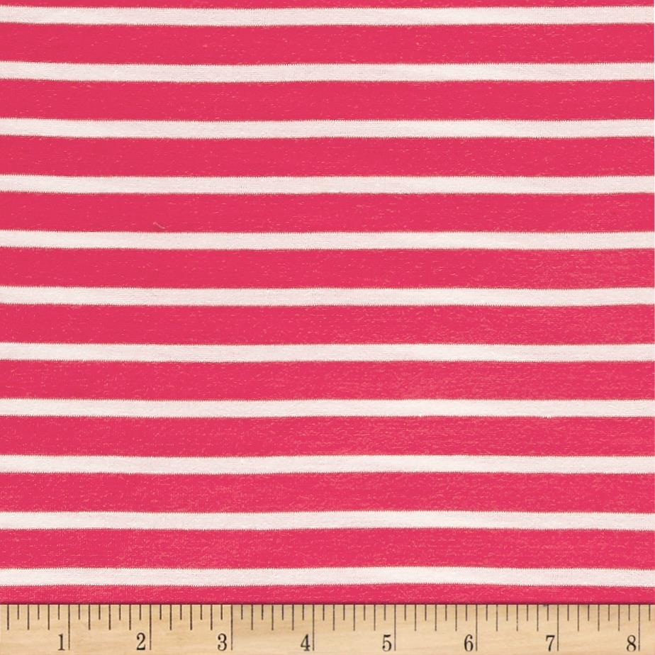 Rayon Jersey Knit Stripe Pink/White Fabric