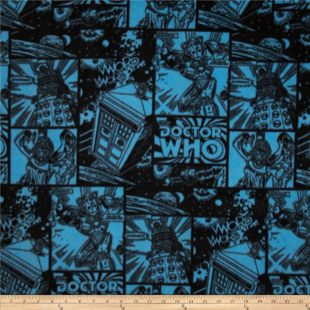 Doctor Who Comics Fleece You Will Be Assimilated Blue Fabric By The Yard