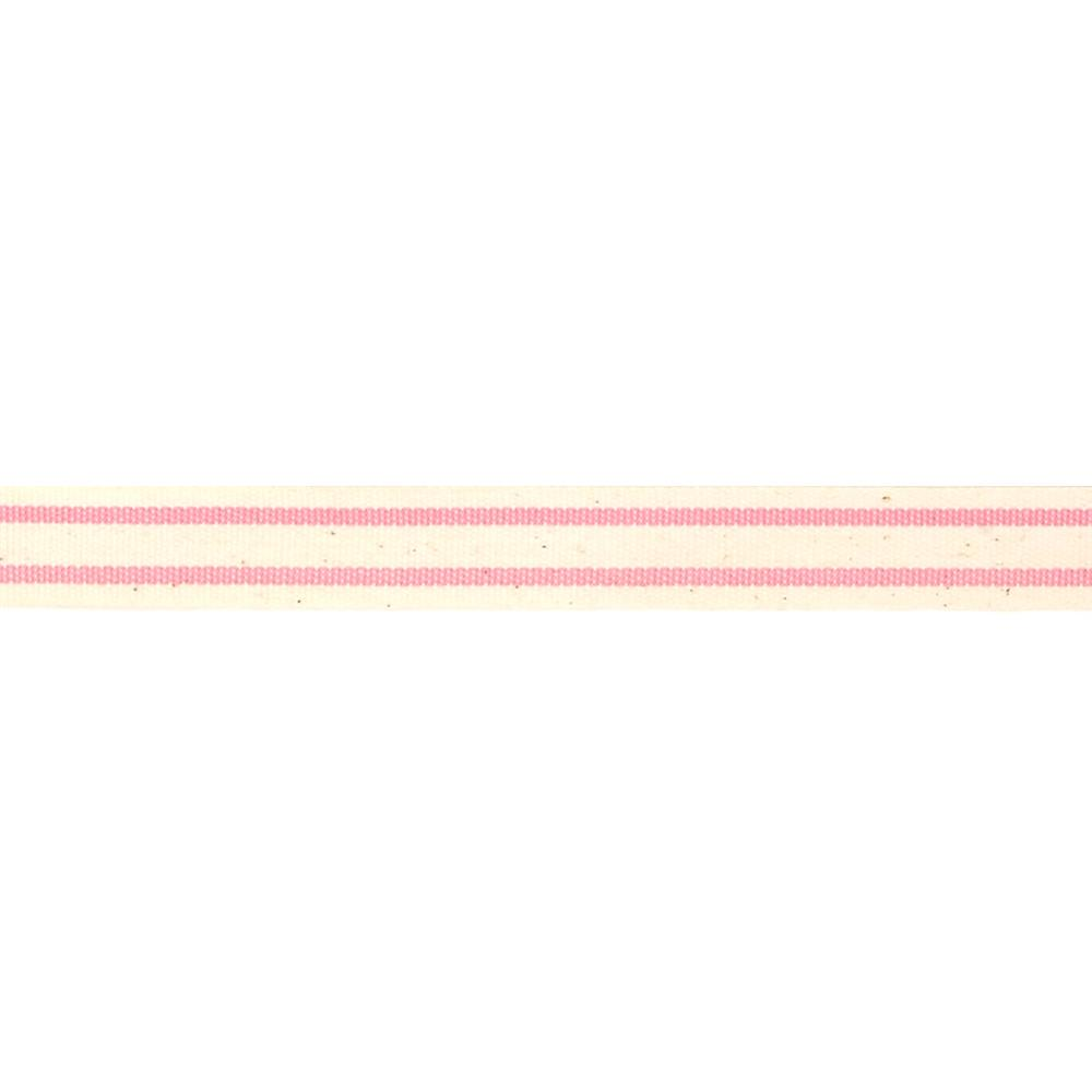 5/8'' Woven Ribbon Stripes Pink