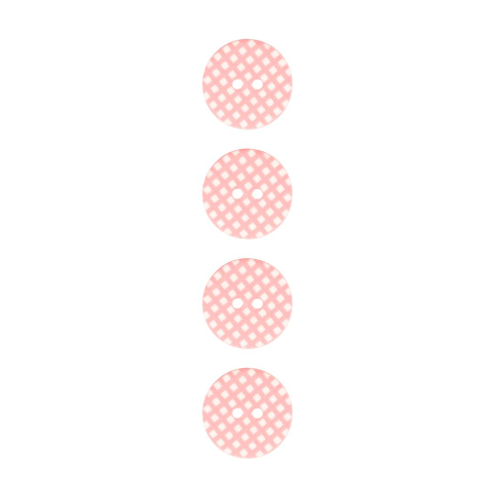 "Riley Blake Sew Together 1"" Gingham Button Pink"