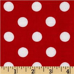 Rayon Challis Medium Dots Red White