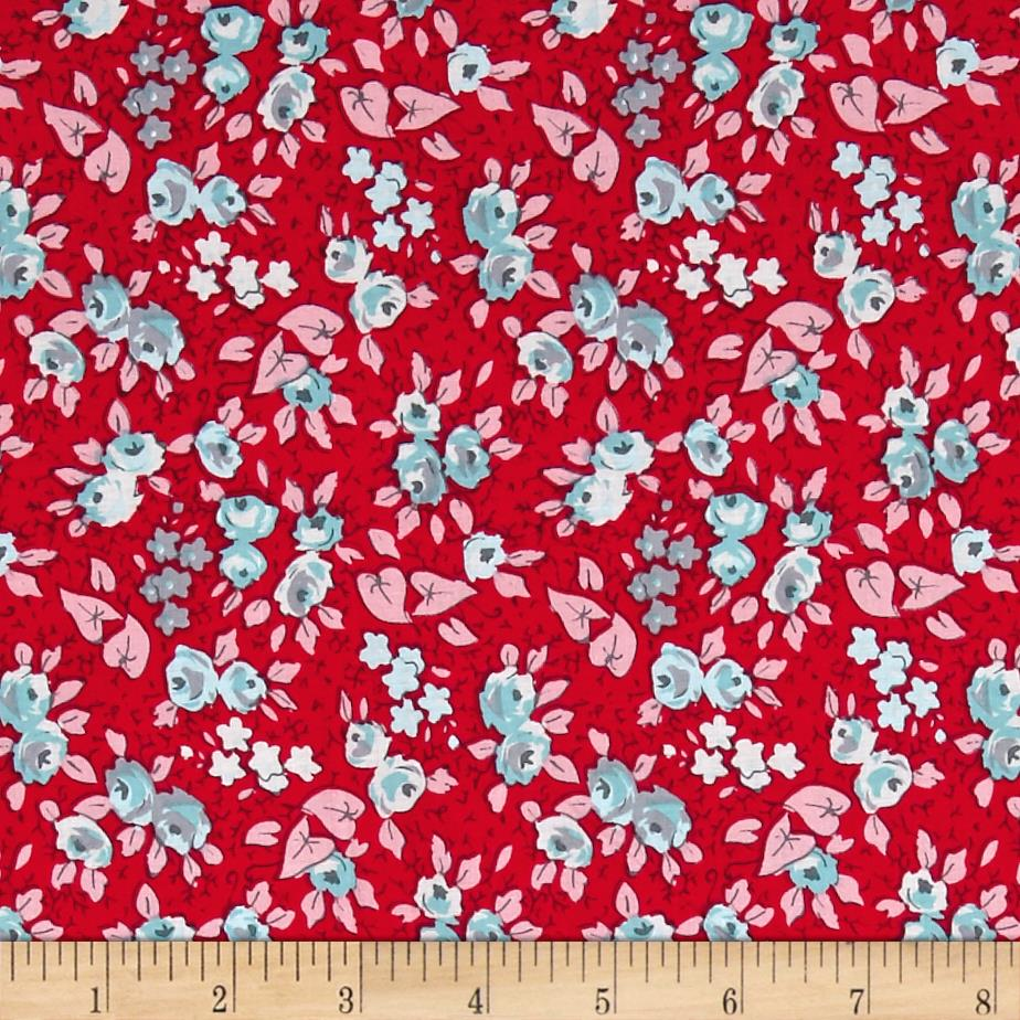 Penny Rose Linen and Lawn Floral Red Fabric