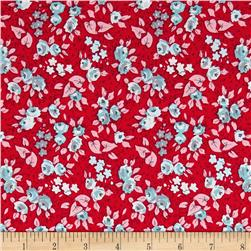 Penny Rose Linen and Lawn Floral Red