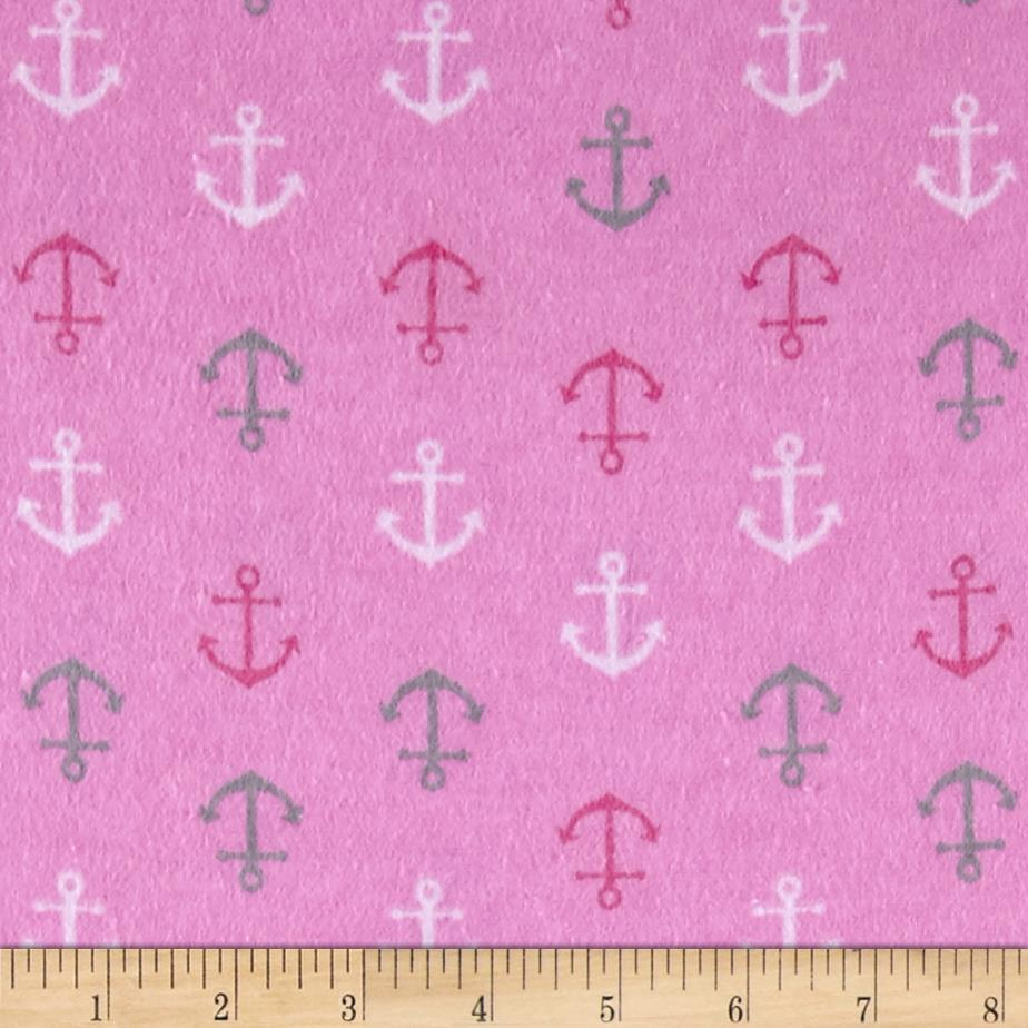 Flannel baby anchors pink discount designer fabric for Cheap baby fabric