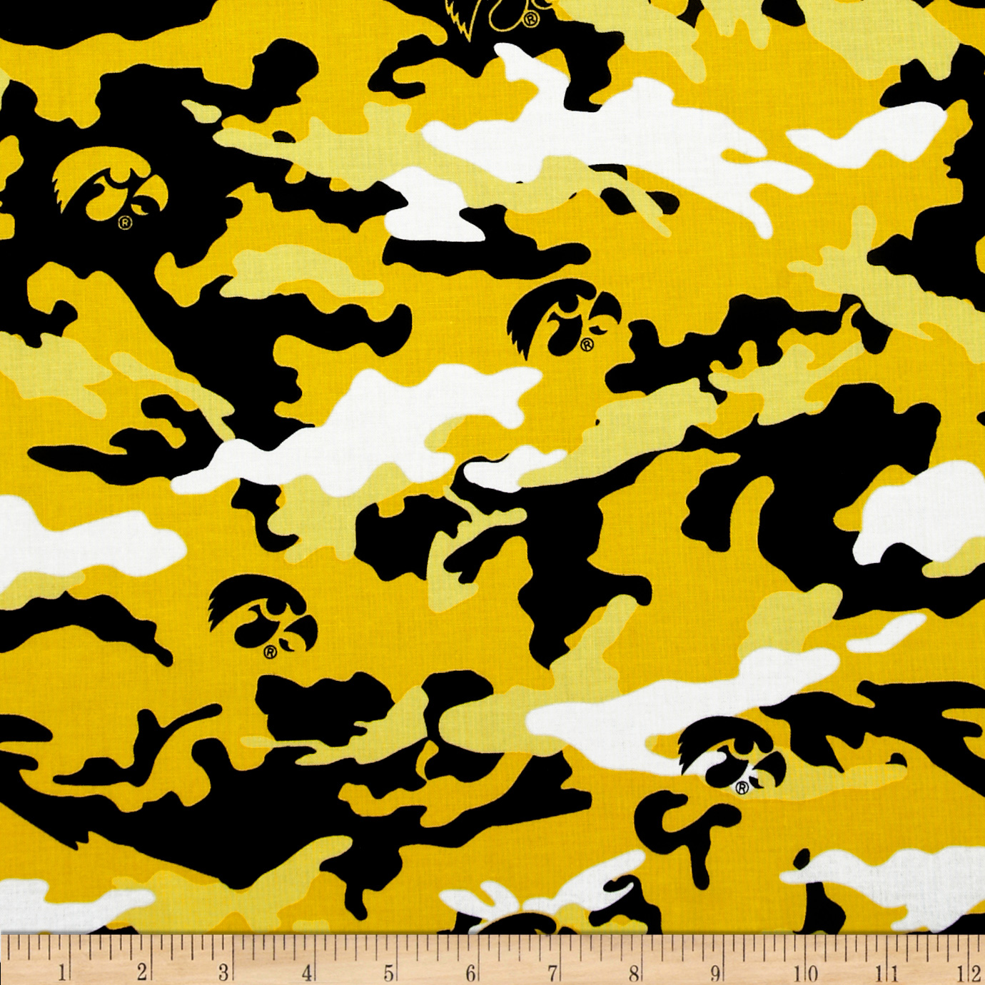 University of Iowa Cotton Camouflage Yellow/Black Fabric