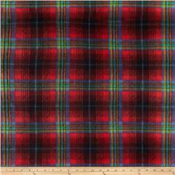Fleece Print Bright Plaid Red