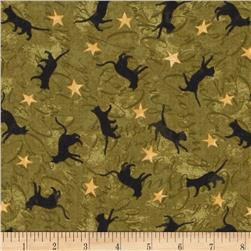 Black Cat Crossing Cats & Stars Green