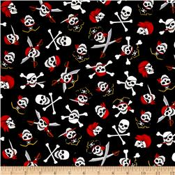 Timeless Treasures Pirate's Cove Skull & Crossbones Black