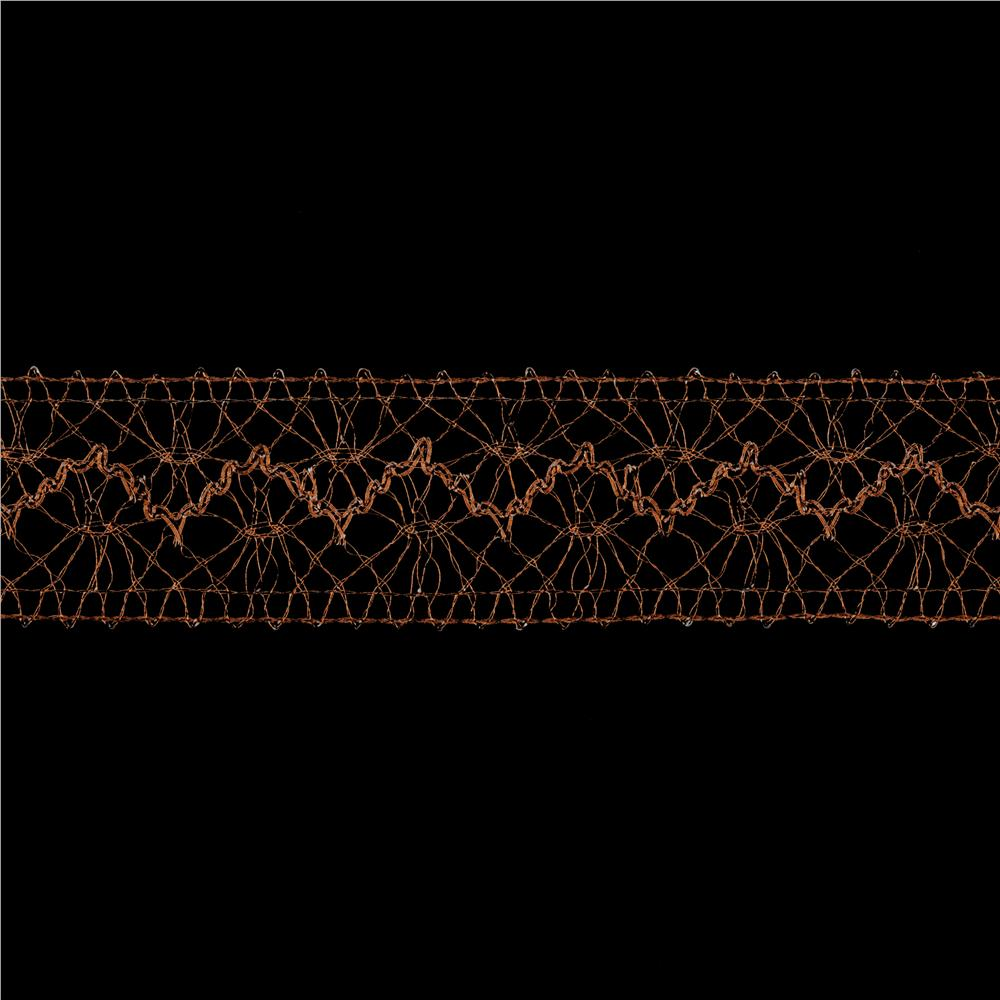 1 1/2'' Metallic Crochet Lace Trim Copper