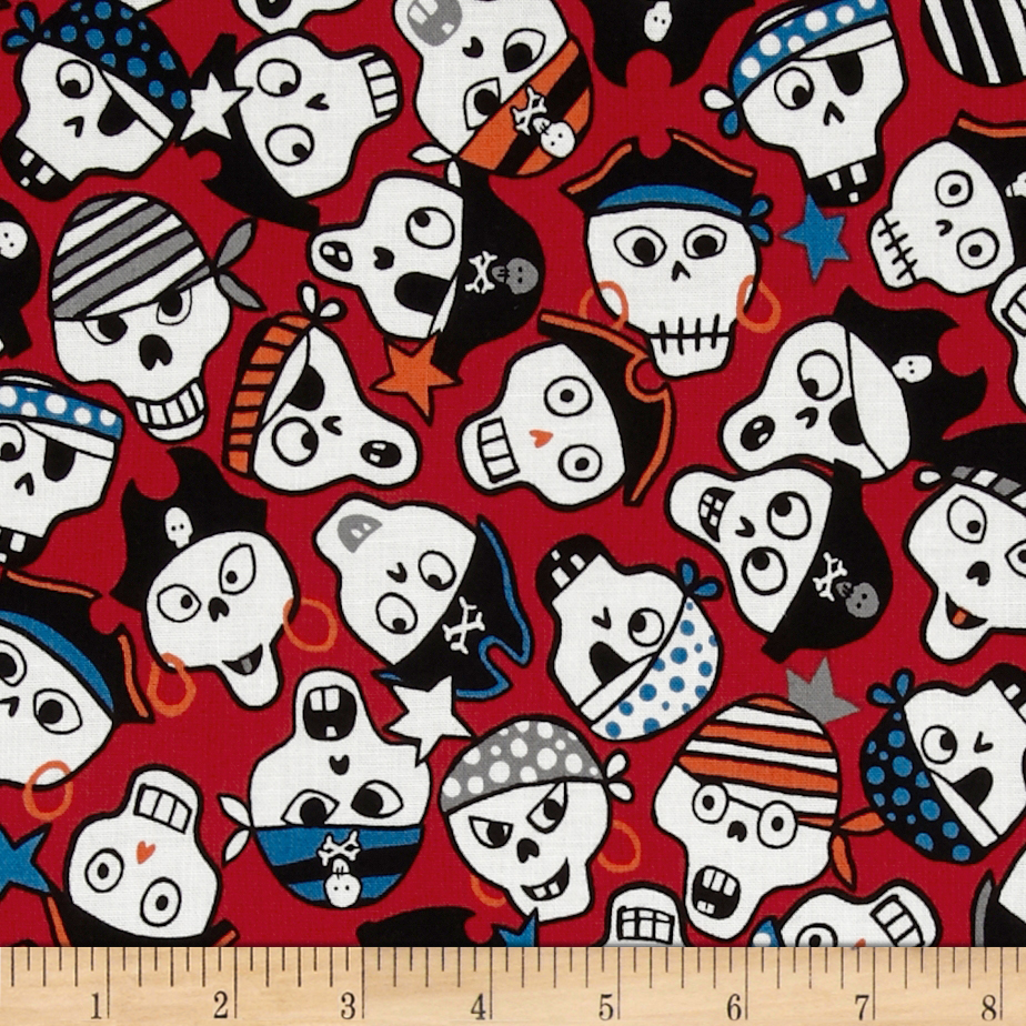 Monkey's Bizness Ahoy Pirate Skulls Red Fabric