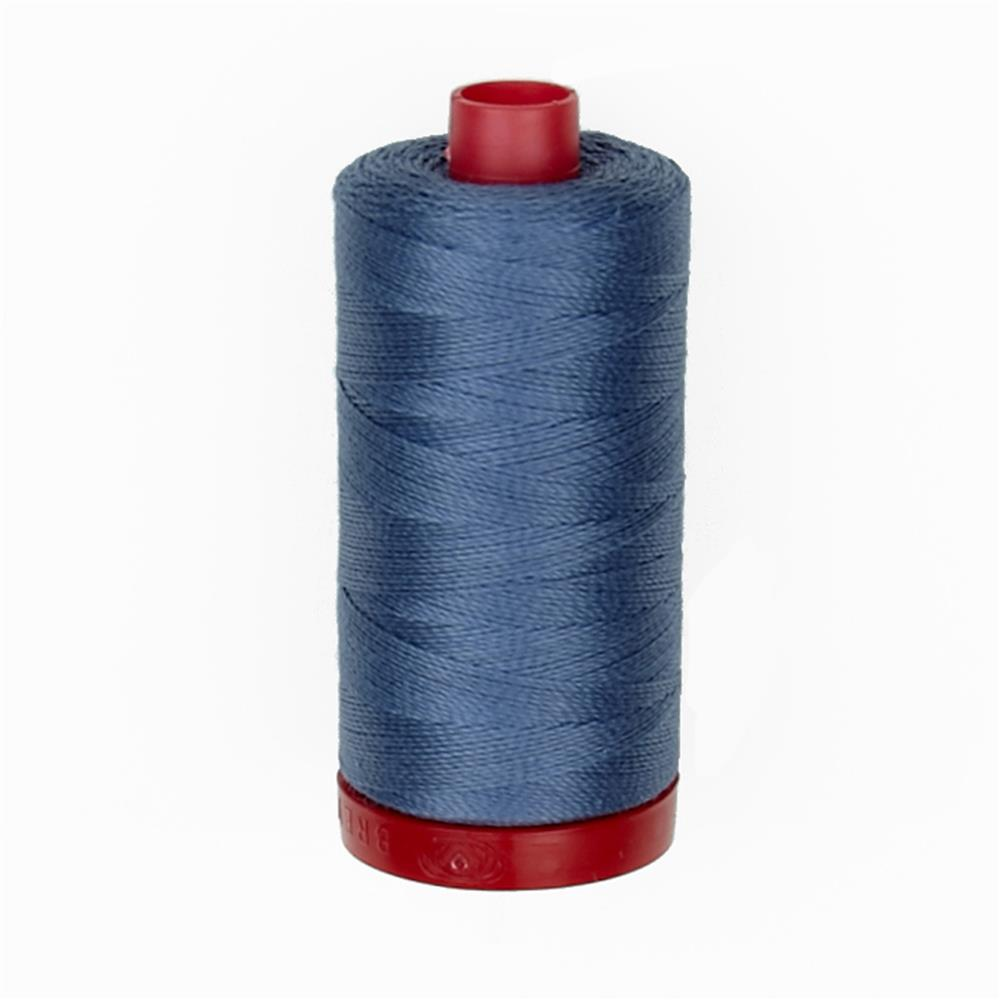 Aurifil 12wt Embellishment and Sashiko Thread Dark Grey Blue