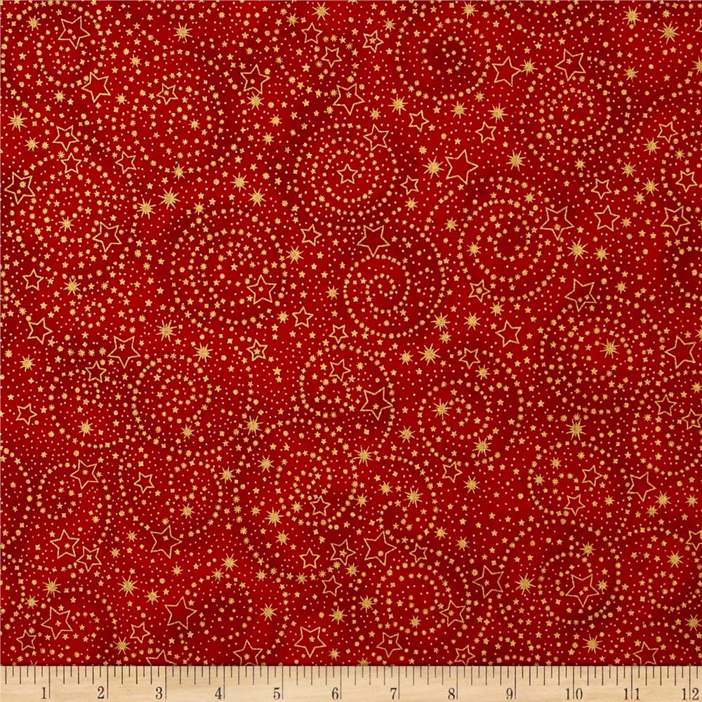 Kaufman Holiday Flourish Metallics Stars Crimson