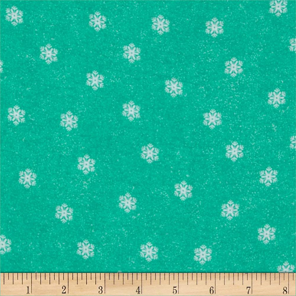 Flannel Tossed Small Snowflakes Teal