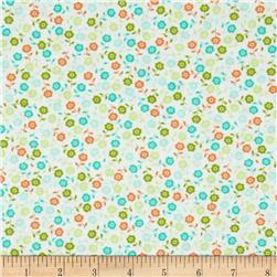 Wishing Well Floral Ditsy Orange Fabric