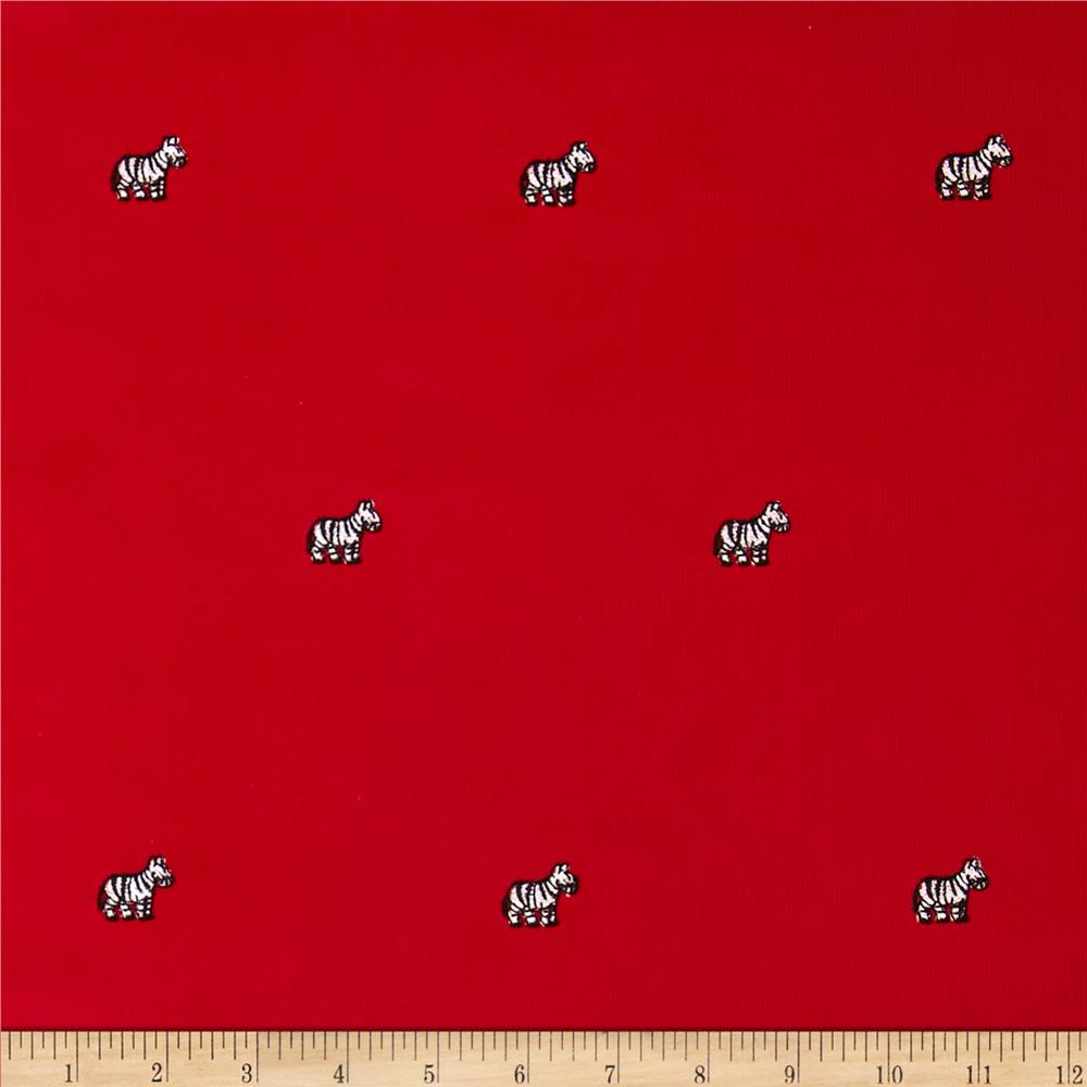 Embroidered 21 Wale Corduroy Zebra Red/White