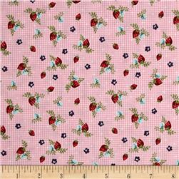 Riley Blake Vintage Market Strawberries Pink
