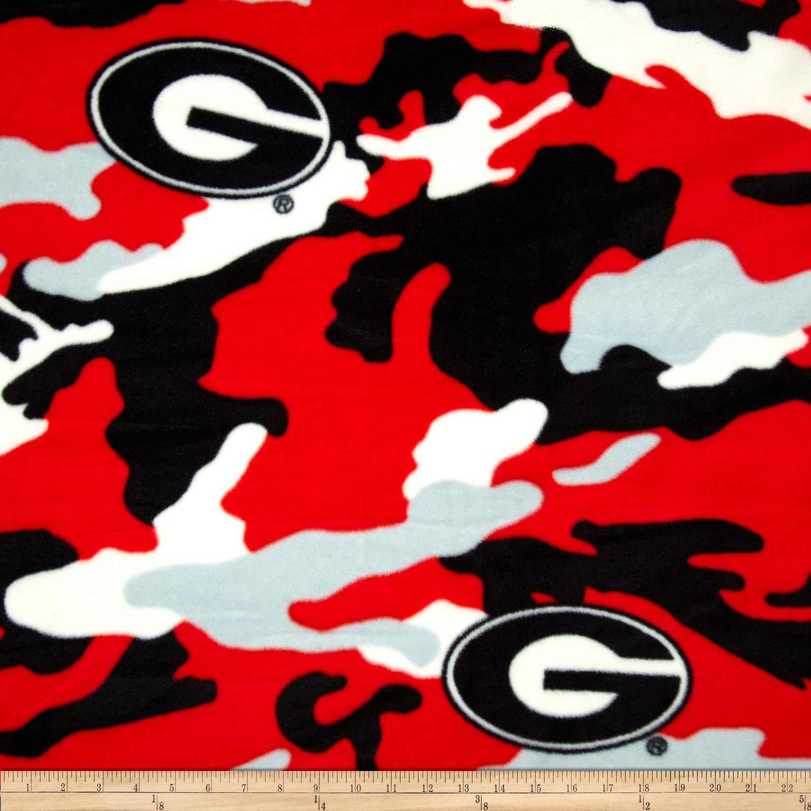 University of Georgia Fleece Camo Red Fabric