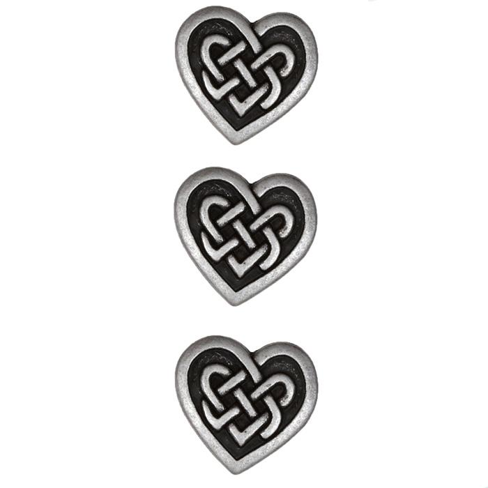 Metal Button 3/4'' Celtic Heart Silver