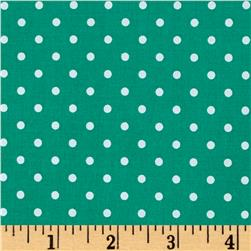 Cotton Stretch Poplin Polka Dots Green/White