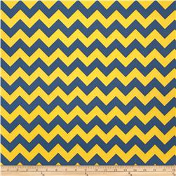 Riley Blake Wide Cut Chevron Medium Blue/Gold