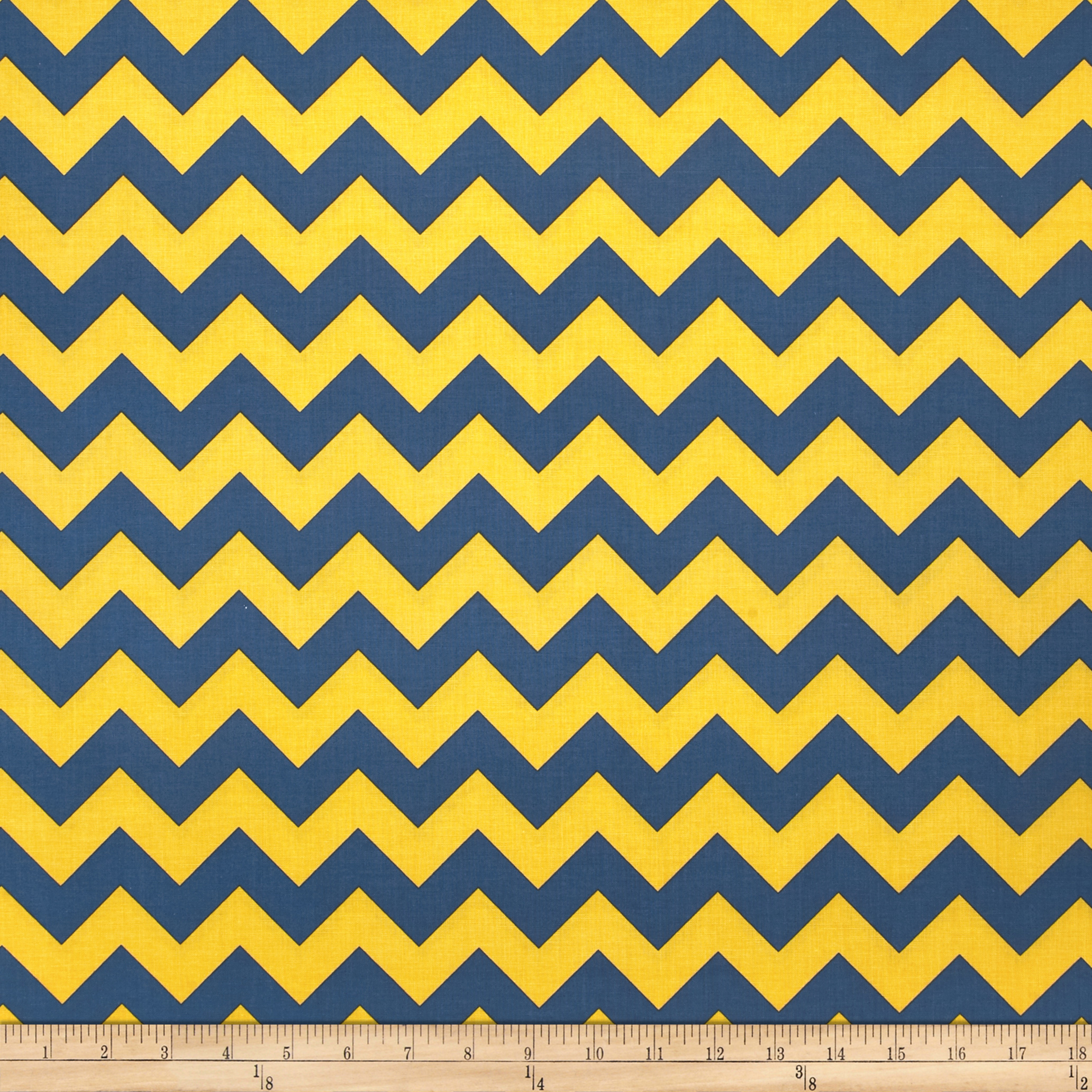 Riley Blake Wide Cut Chevron Medium Blue/Gold Fabric