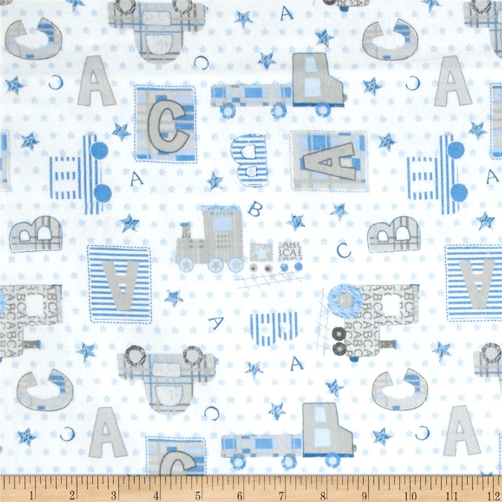 Comfy  Flannel ABC, Cars & Blocks White