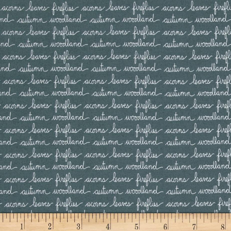 Moda Autumn Woods Handwriting Teal