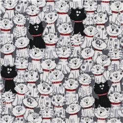 Timeless Treasures Packed Cats White Fabric