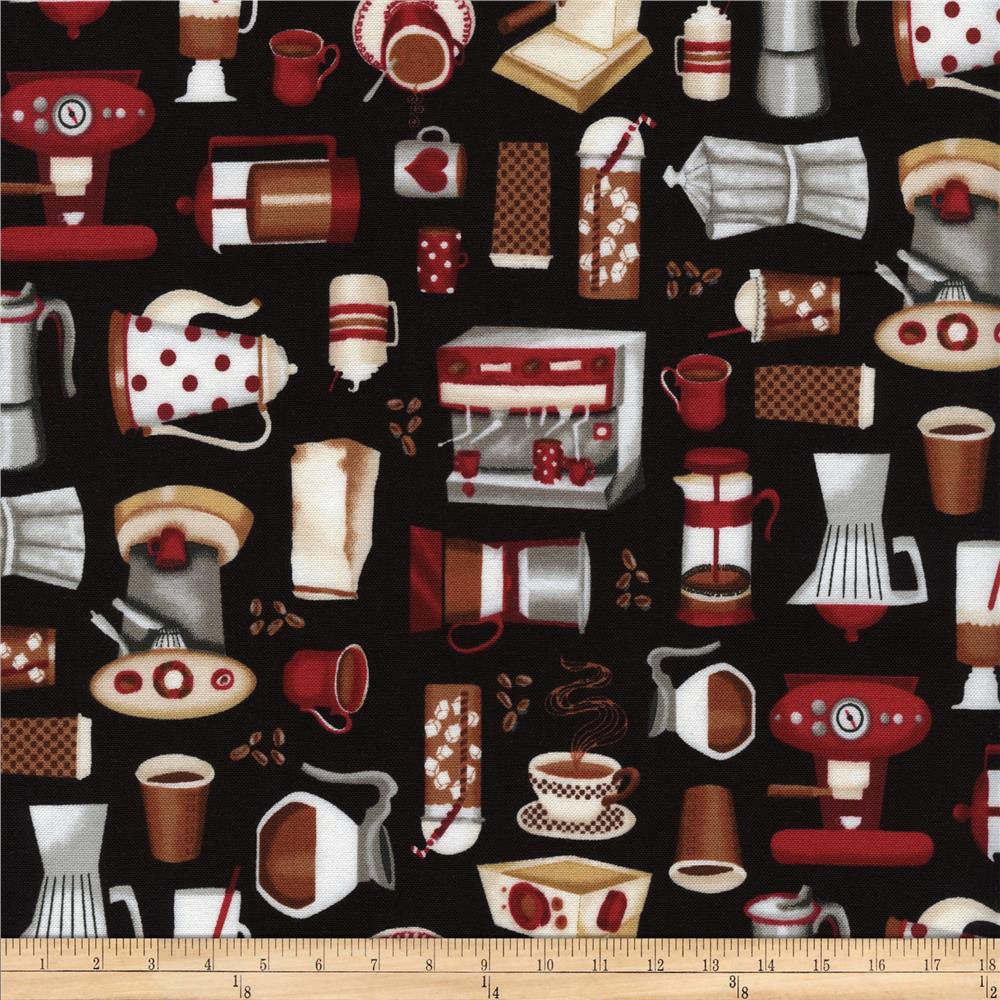 Timeless Treasures Coffee Motifs Black