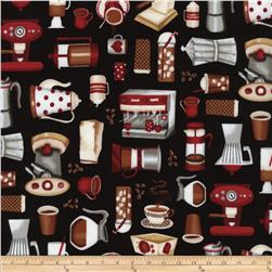 Timeless Treasures Coffee Motifs Black Fabric