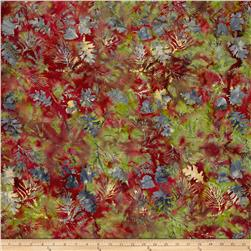Island Batik Leaf Sprigs Marron/Green/Plum