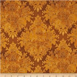 Tuscan Sunflowers Metallic Damask Gold