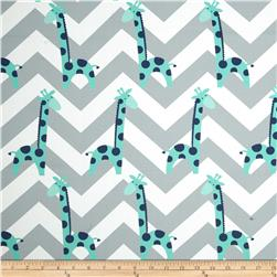RCA Giraffe Chevron Blackout Drapery Fabric Jade/Grey