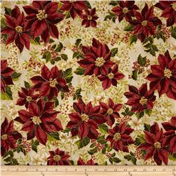 Robert Kaufman Holiday Flourish Metallic Poinsettias Country