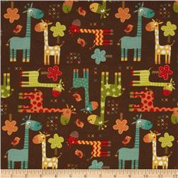 Riley Blake Giraffe Crossing Giraffe Main Brown Fabric