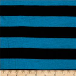 Designer Stripe Jersey Knit Black/Bright Teal