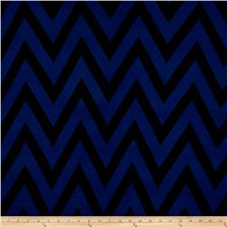 Rayon Spandex Jersey Knit Chevron Royal/Black