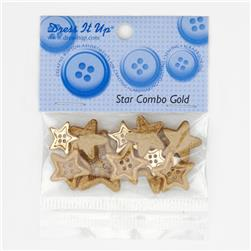 Dress It Up Embellishment Buttons Star Combo Gold