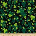 Kiss Me I'm Irish Shamrock Clusters Black